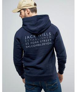 Jack Wills | Худи Темно-Синего Цвета С Принтом На Спине Batsford