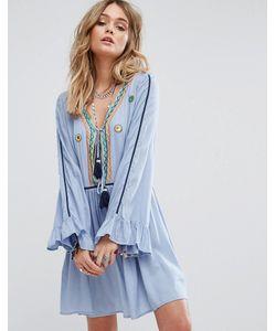 Glamorous | Свободное Платье На Завязке С Кисточками И Вышивкой Premium