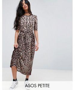ASOS PETITE | Платье Миди С Леопардовым Принтом И Поясом