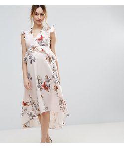 Hope and Ivy Maternity   Платье Миди С Цветочным Принтом И Асимметричным Краем Hope Ivy
