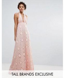True Decadence Tall | Пышное Платье Макси Для Выпускного С Лямкой Через Шею И Ажурной