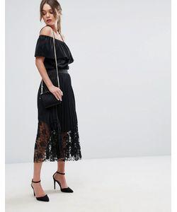boohoo | Pleated Lace Trim Midi Skirt