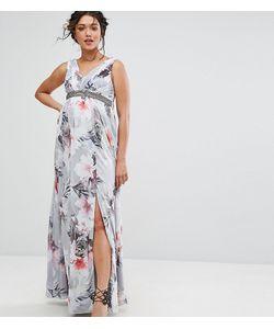 Little Mistress Maternity | Платье Макси С Глубоким Вырезом И Цветочным Принтом
