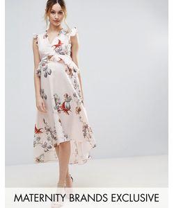 Hope and Ivy Maternity | Платье Миди С Цветочным Принтом И Асимметричным Краем Hope Ivy