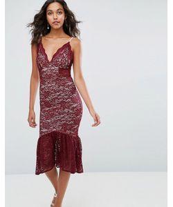 Asos | Кружевное Платье Миди С Баской По Краю И Глубоким Вырезом
