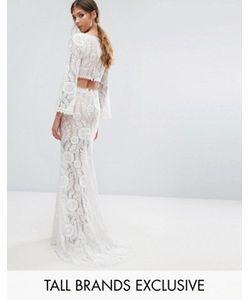 Jarlo Tall   Cutout Back Lace Maxi Dress With Train
