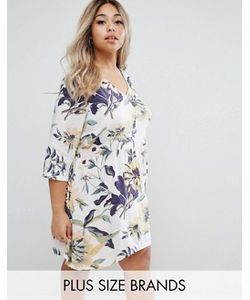Junarose | Короткое Приталенное Платье С Тропическим Цветочным Принтом