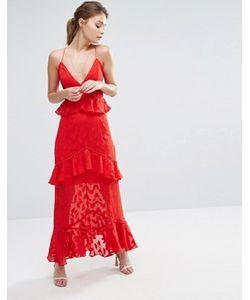 Dark Pink | Платье Макси С Выжженным Узором Листьев И Оборками