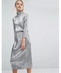 First & I   Плиссированное Платье Миди Цвета Металлик