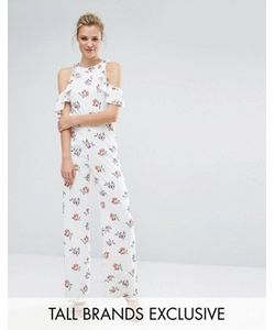 Fashion Union Tall | Printed Cold Shoulder Ruffle Jumpsuit