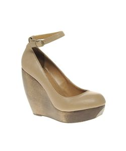 Shellys London | Shellys Caramel Wooden Wedge With Ankle Strap