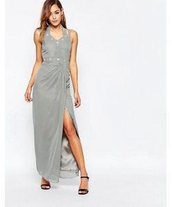 VLabel London | Декорированное Платье Макси С Разрезом Сбоку Vlabel