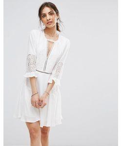 boohoo | Короткое Приталенное Платье С Оборками На Рукавах И Кружевными Вставками