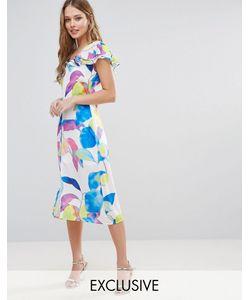 Every Cloud   Electric Print Ruffle Midi Dress