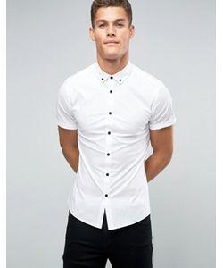 Asos | Рубашка Зауженного Кроя С Контрастными Пуговицами И Воротником На Пуговицах