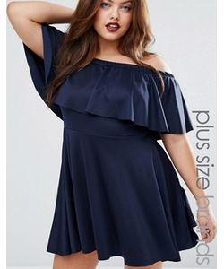 Praslin | Короткое Приталенное Платье С Открытыми Плечами И Оборкой Plus