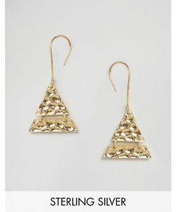 Asos | Позолоченные Треугольные Серьги Из Чистого Серебра