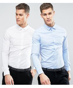 Asos | 2 Рубашки Скинни Белая И Голубая Со Скидкой