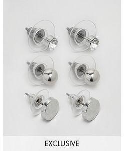 DesignB London   Набор Из 3 Пар Серебристых Серег-Гвоздиков