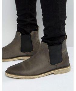 Asos | Серые Кожаные Ботинки Челси На Подкладке Из Искусственного Меха