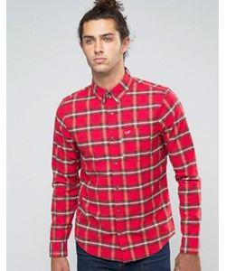 Hollister | Оксфордская Рубашка Слим В Красную Клетку Тартан