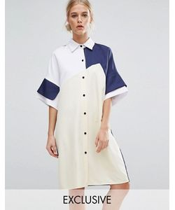 Zacro | Платье-Рубашка В Стиле Колор Блок