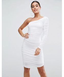 Asos | Облегающее Платье Миди На Одно Плечо Со Сборками