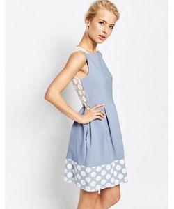 Closet London | Платье Со Складками И Отделкой В Горошек По Краю Closet