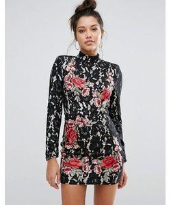 MISSGUIDED | Платье Мини С Кружевом И Аппликацией Роз Peace Love