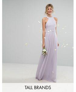 TFNC Tall | Плиссированное Платье Макси С Высоким Воротником Wedding