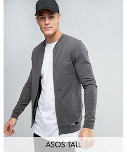 Asos | Черная Обтягивающая Куртка-Пилот Из Трикотажа Tall