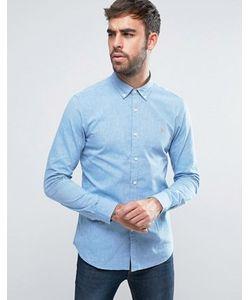 Farah | Голубая Оксфордская Рубашка С 2-Цветным Плетением Steen