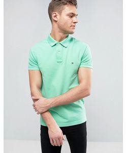 Tommy Hilfiger | Облегающее Зеленое Поло Из Ткани Пике С Логотипом