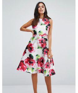 AX Paris | Приталенное Платье Миди С Цветочным Принтом
