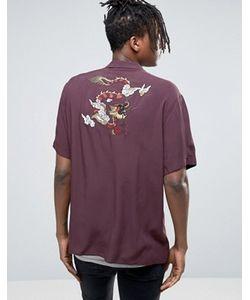 Asos   Рубашка Классического Кроя Из Вискозы С Вышивкой Дракона