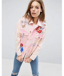 Asos | Джинсовая Куртка С Цветочным Рисунком