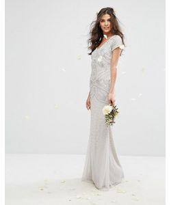 Amelia Rose   Декорированное Платье Макси С Короткими Рукавами