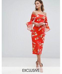 True Violet | Красное Платье Миди С Цветочным Принтом Широким Вырезом И Оборками На