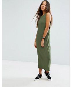 Asos | Платье Макси В Рубчик Со Вставками По Бокам