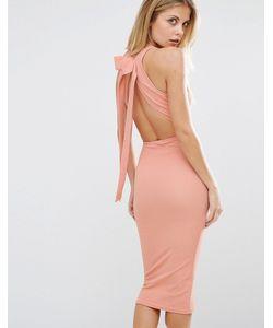 Oh My Love   Платье Миди С Бантом Сзади