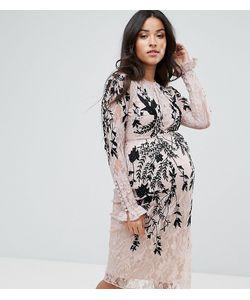 Hope and Ivy Maternity   Кружевное Платье С Длинным Рукавом И Отделкой Hope Ivy Maternity