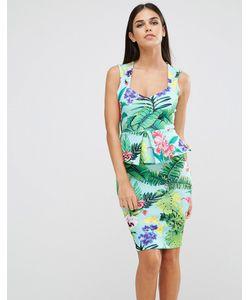 Vesper | Платье-Футляр Без Рукавов С Тропическим Принтом И Баской