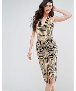 Lavish Alice | Облегающее Платье С Контрастным Кружевом