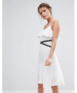 True Decadence | Кружевное Платье Миди С Люверсами И Рюшами