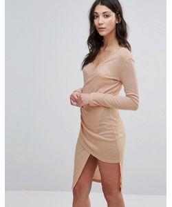 Unique 21 | Платье Миди В Рубчик С Глубоким Вырезом И Запахом