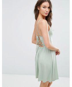 Asos | Короткое Приталенное Платье В Стиле 90-Х Со Шнуровкой На Спине
