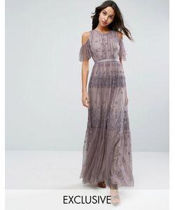 Needle & Thread | Платье Макси С Вышивкой И Открытыми Плечами