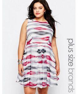 Lovedrobe | Короткое Приталенное Платье В Полоску С Кружевной Спинкой Plus