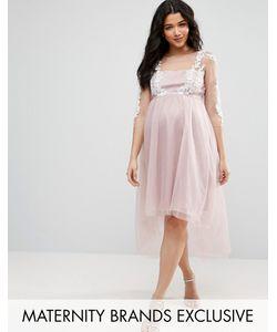Chi Chi Maternity | Сетчатое Платье С Вышивкой И Асимметричным Подолом Chi Chi London Maternity