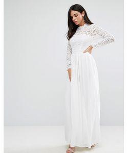 Club L | Кружевное Платье Макси С Высокой Горловиной